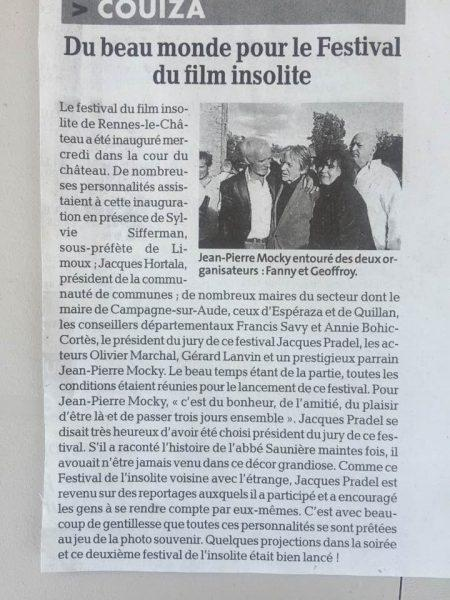 Fanny Bastien Geoffroy Thiebaut ,Jean Pierre Mocky parrain du deuxième festival du film insolite de